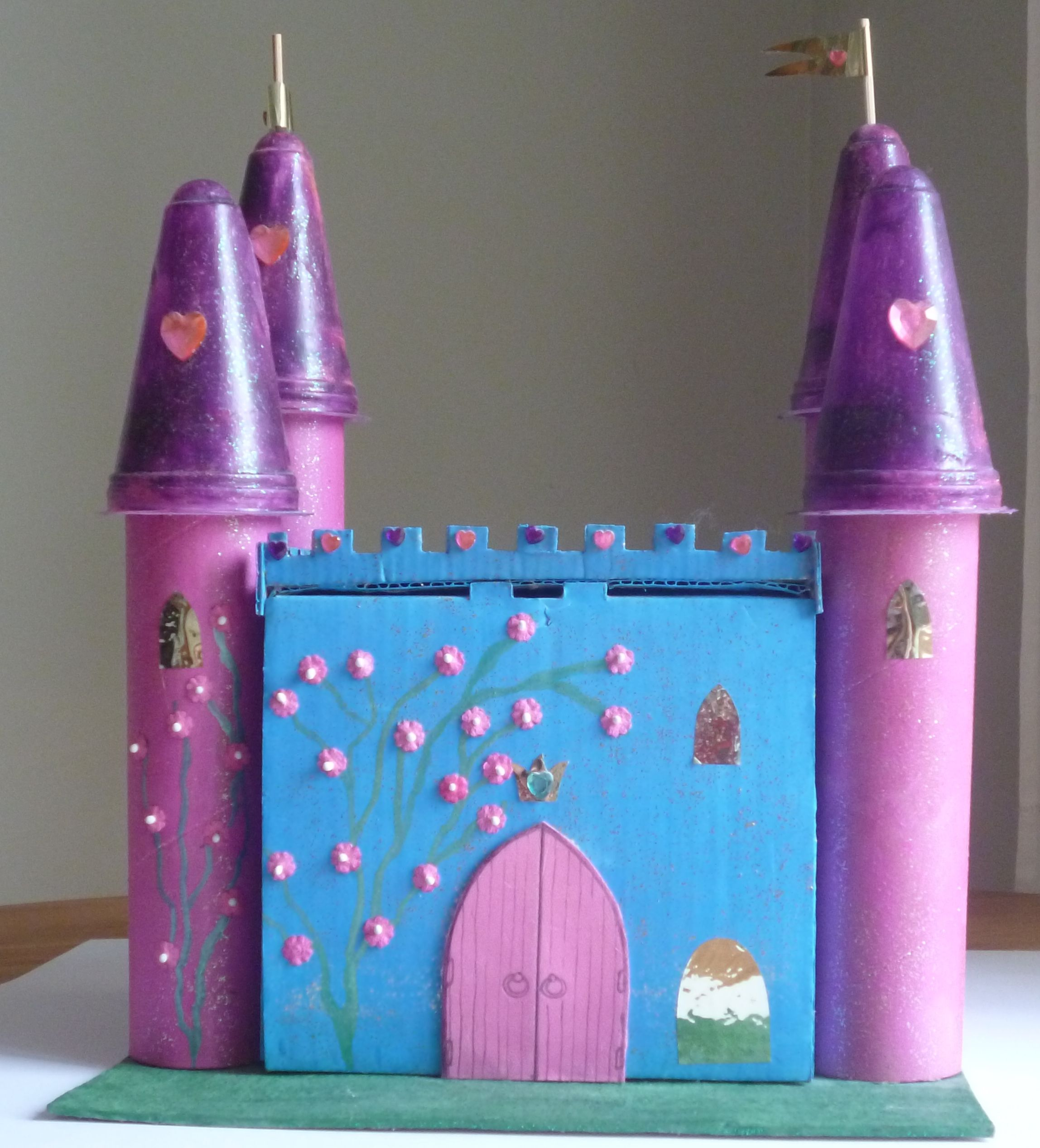 Fairy Castle made from old box, tubes and screw ball ice