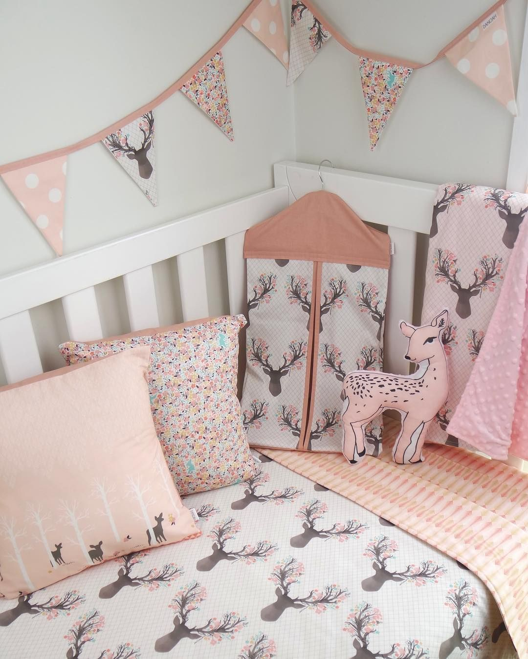 Pink Deer Nursery Set By Danoah Baby Featuring Fawn Fabric By