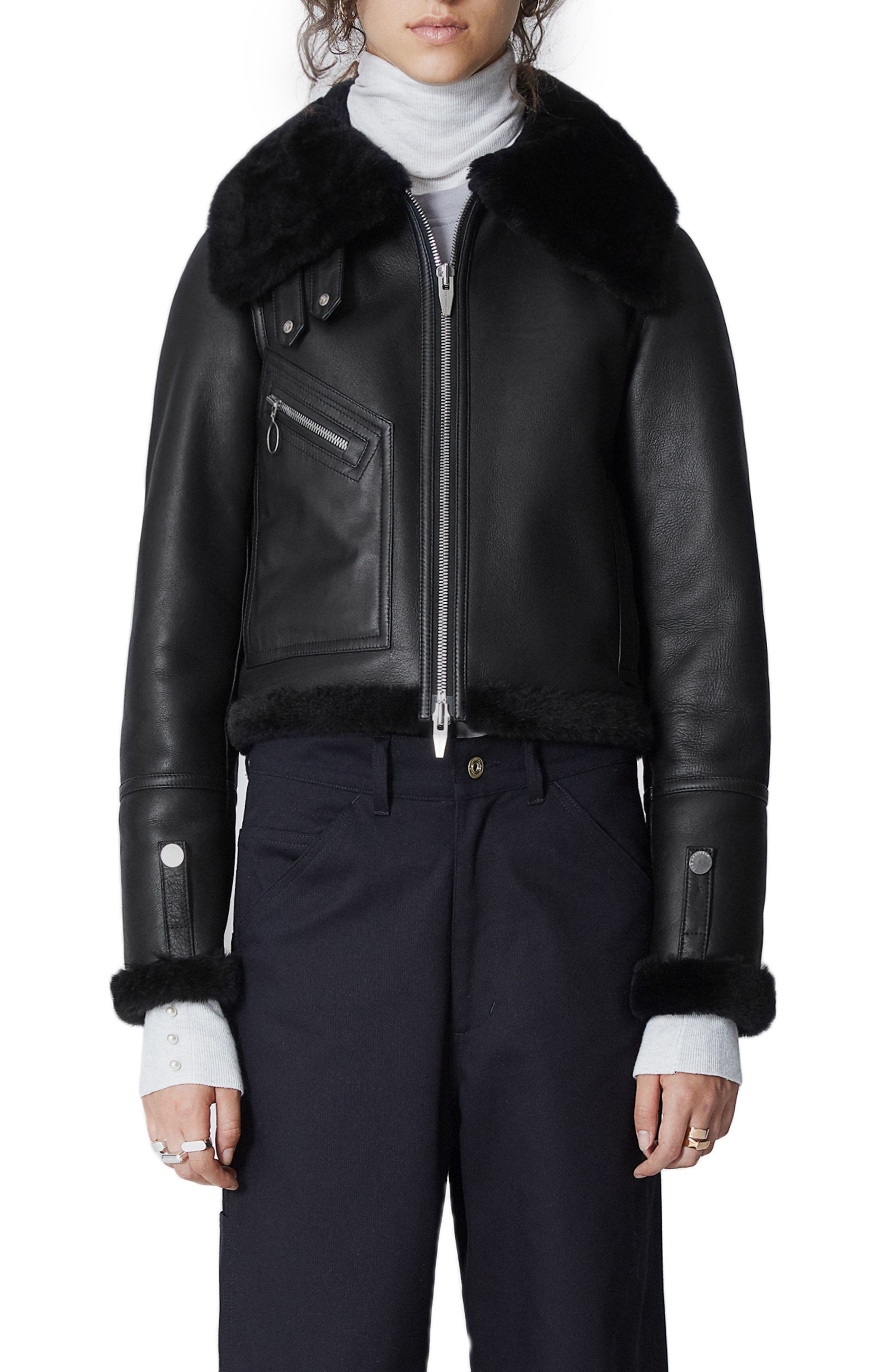The Arrivals Moya Mini Leather Genuine Shearling Jacket Available At Nordstrom Shearling Jacket Jackets Winter Coats Jackets [ 4048 x 2640 Pixel ]