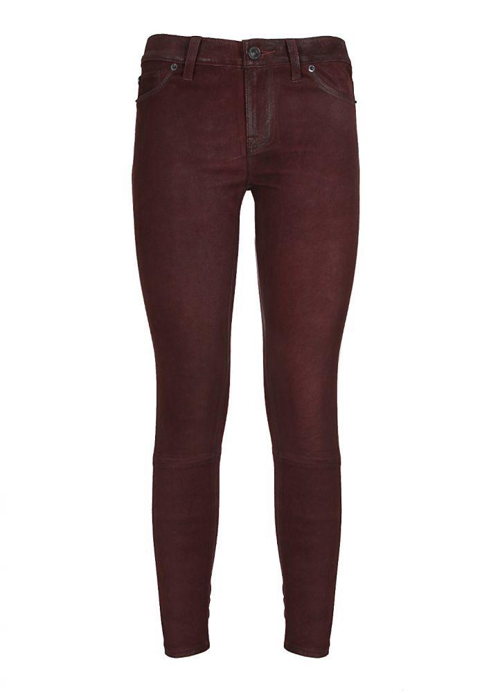 Hudson Pants :: Hudson burgundy skinny lamb suede Krista pants | Montaigne Market