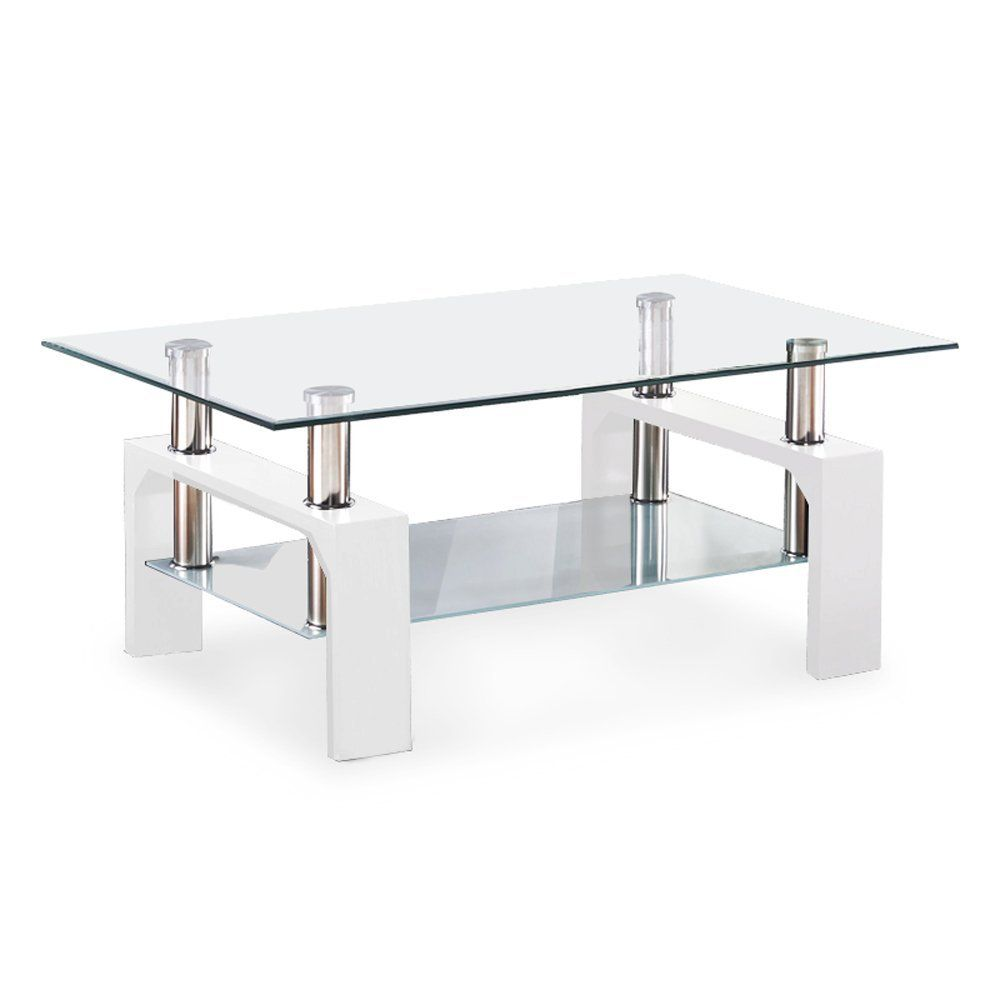 White Glass Coffee Table Stol