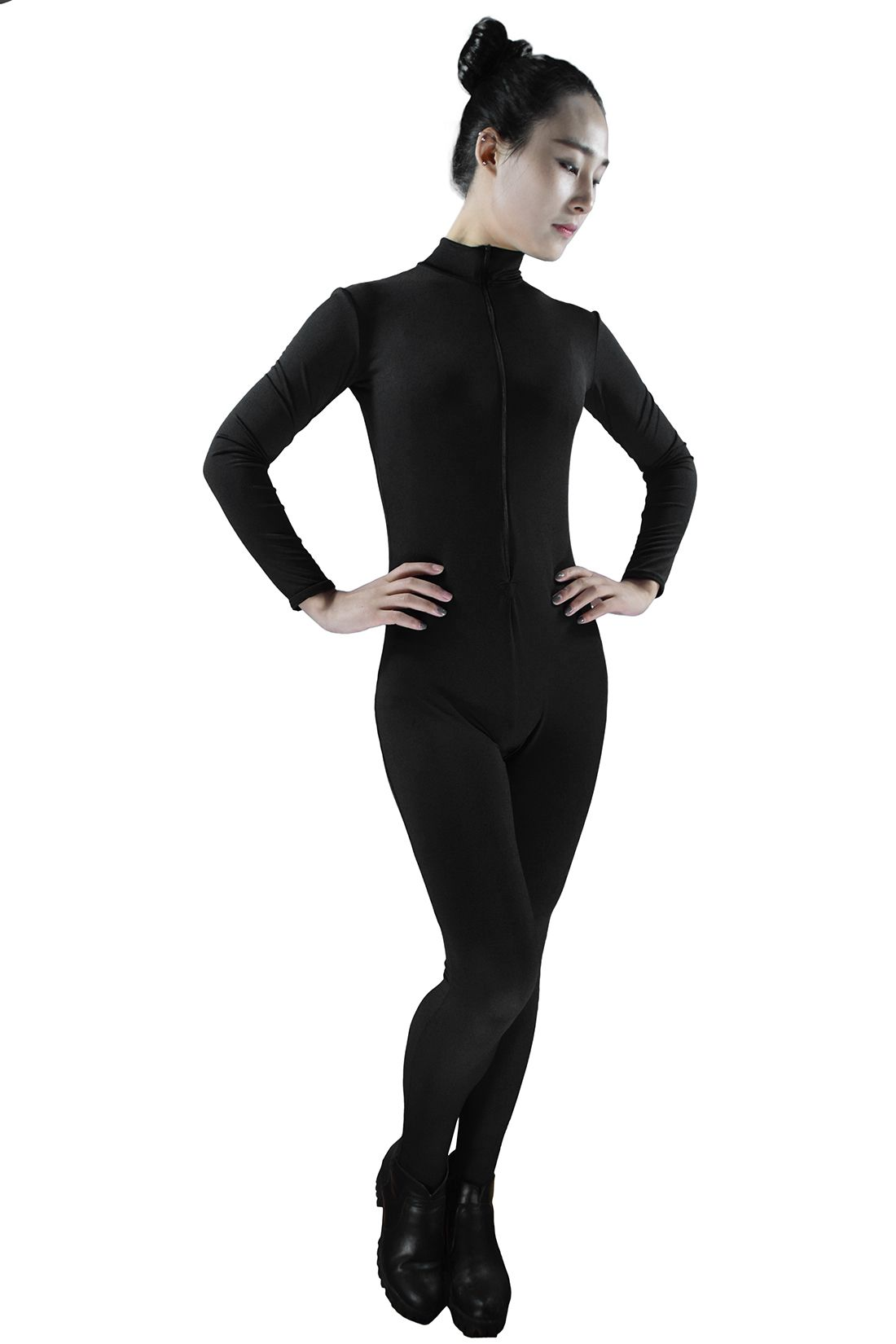 4792fa689 Turtleneck Spandex Dancewear Mock High Neck Nylon Long Sleeve Front ...