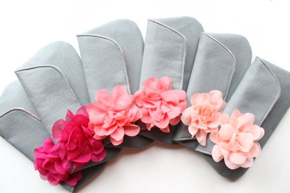 Items similar to Bridesmaid Clutch Set of 6, Gray and Coral Pink Wedding, CUSTOM COLORS AVAILABLE on Etsy