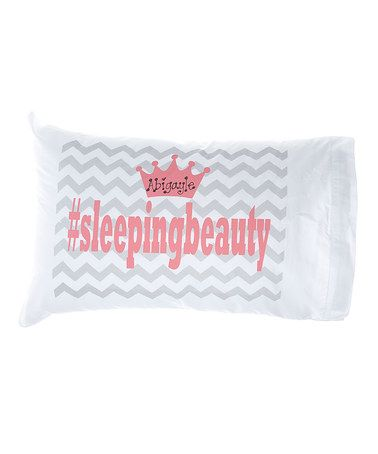 This Gray Chevron '#Sleepingbeauty' Personalized Pillowcase is perfect! #zulilyfinds
