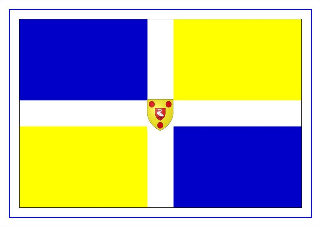 The Flag Of Boulogne France Is Quartered Blue Yellow By A White Cross With The Municipal Arms Placed In The Centre