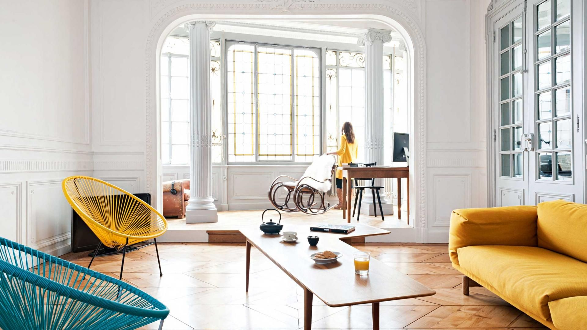 French Apartment Living Room Yellow Furniture Floorboards May15