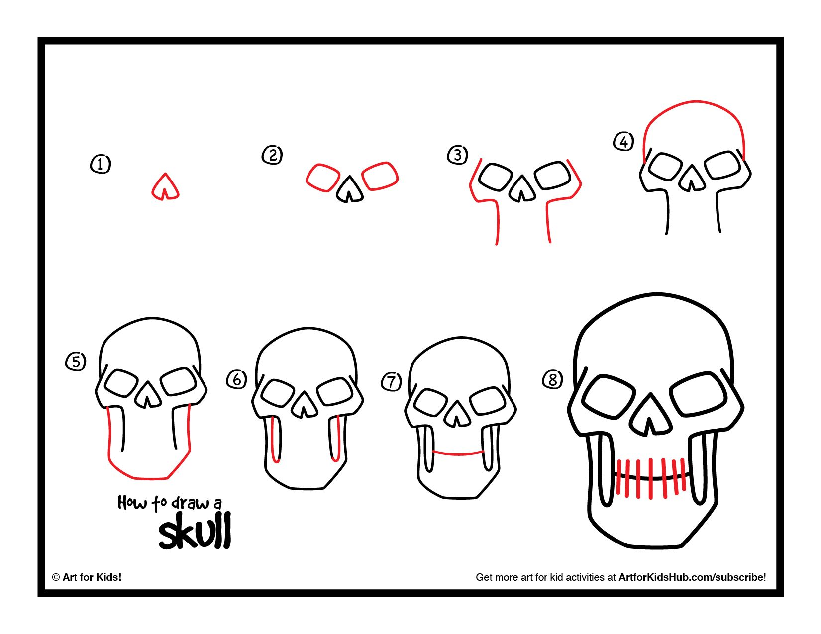How To Draw A Skull Art For Kids Hub Easy Halloween Drawings