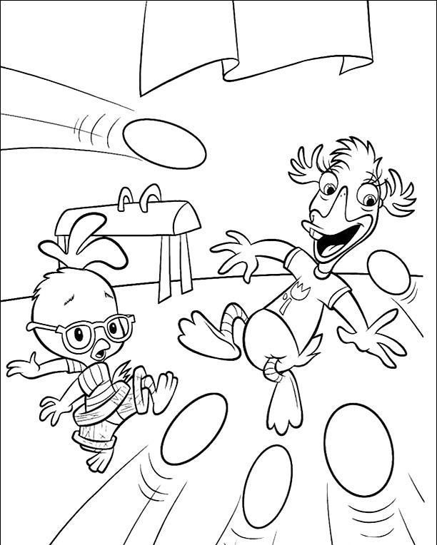Chicken Little In Hit Eggs Coloring Page Chicken Little Car