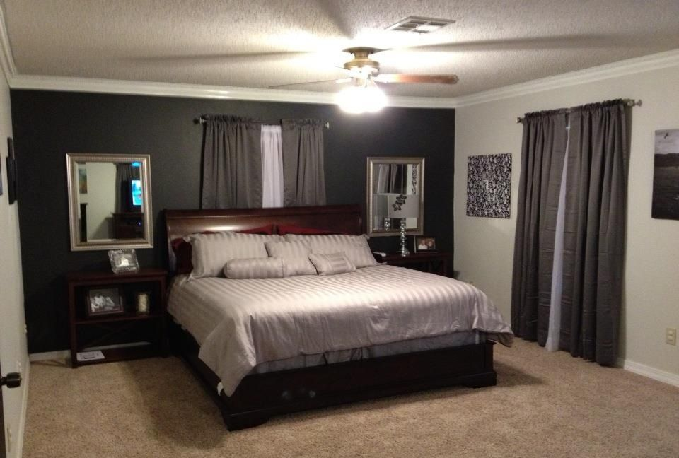 Grey Bedroom With Black Accent Wall Beige Quilt Curtains To