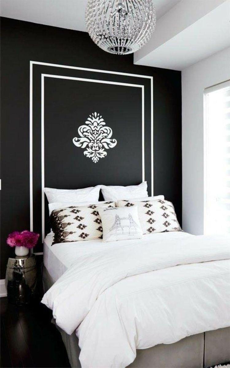 Deco Noir Et Blanc Avec Touches De Couleur Chambre A Coucher