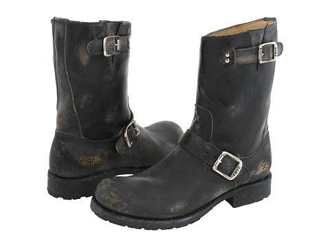 Zappos Frye Men's Boots | Frye Rogan Engineer Black Stone Wash Leather - .