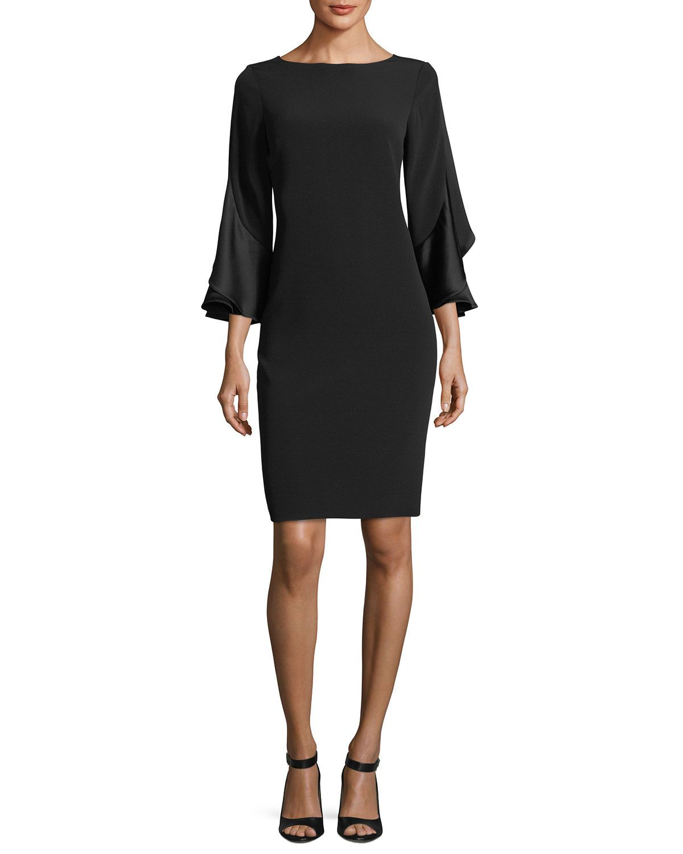 Rickie Freeman For Teri Jon 3 4 Sleeve Sheath Cocktail Dress W Ruffles Dresses Designer Cocktail Dress Fashion [ 1500 x 1200 Pixel ]