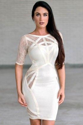 Beige lace cocktail dress accessories