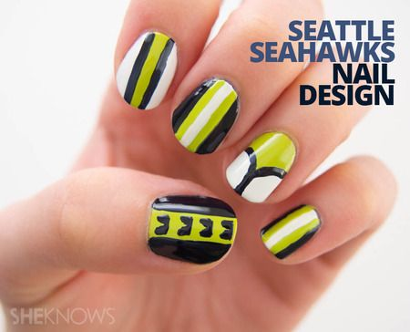 93 cool nail design tutorials to keep you busy polished all 93 cool nail design tutorials to keep you busy polished all winter seahawks nail art prinsesfo Images