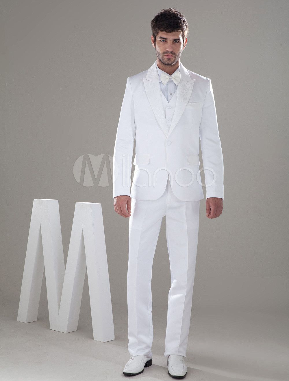 White Popular Worsted Bow Groom Wedding Suit | Wedding suits