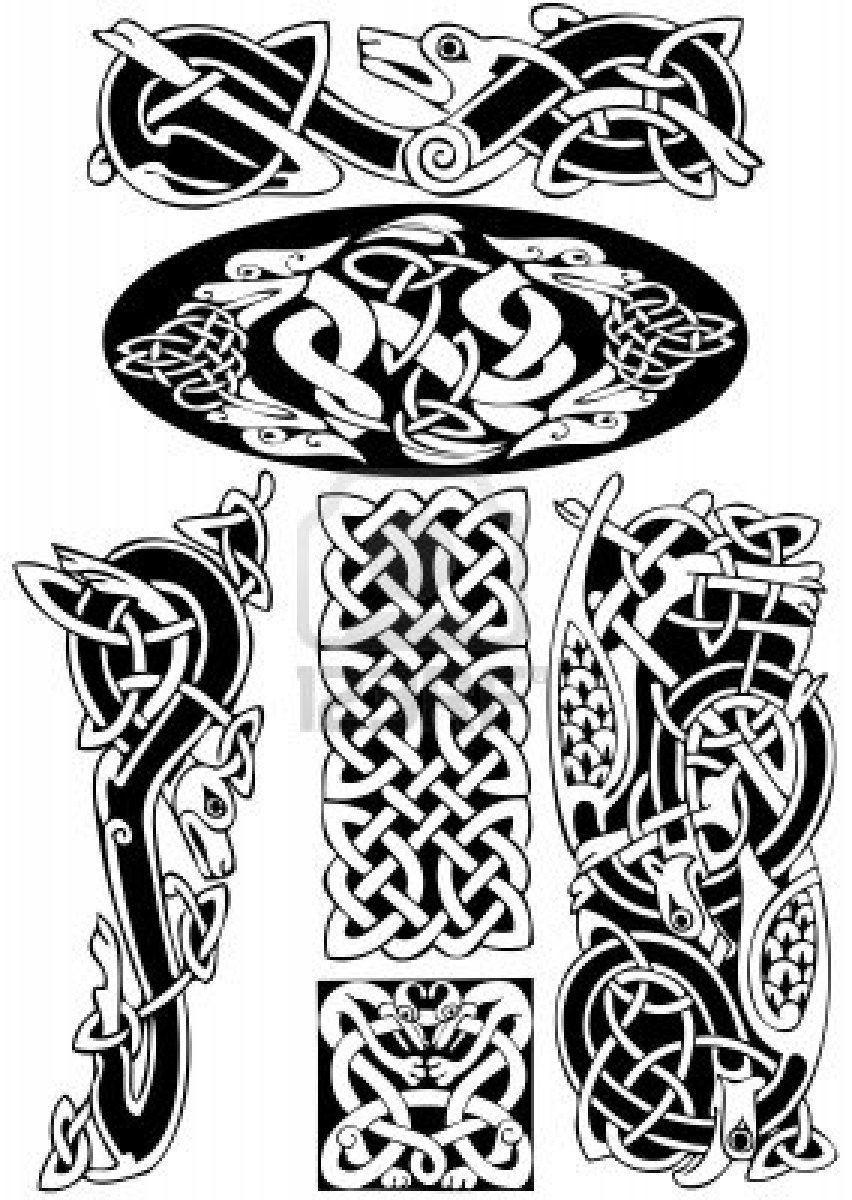 Celtic art-collection on a white background. | celtic knots, paterns ...