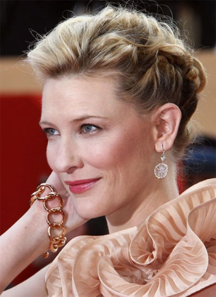Formal Occasion French Braids Look Red Carpet Twists Updo Design 400x551 Pixel