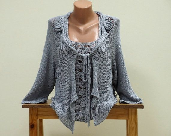 Dressy womens hand knit cardigan, Fancy grey cardigan sweater with ...