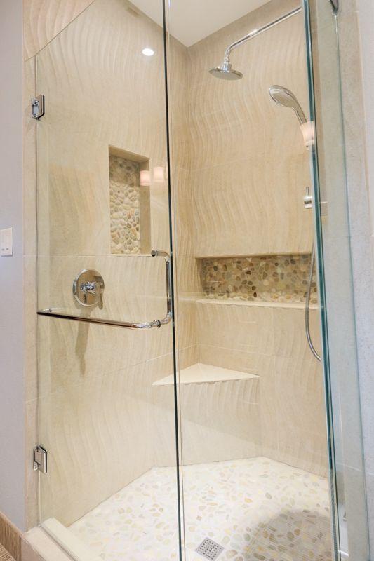 We Love How We Incorporated Different Textures Wavy Shower Tile Pebble Shower Floor Rock