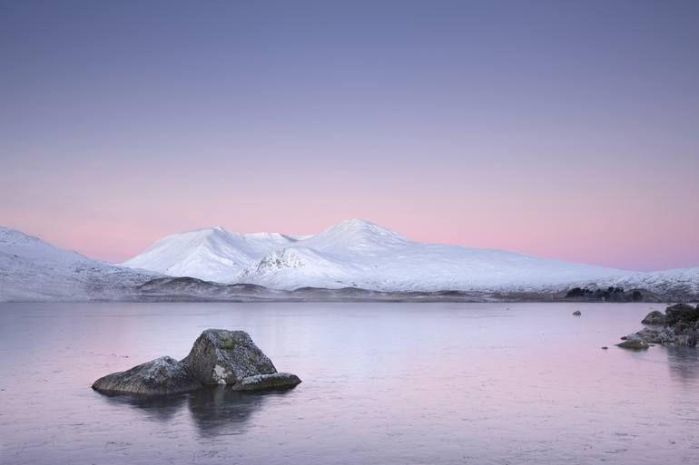 Original Landscape Photography By Richard Johnson Fine Art Art On Paper Sunset Winter Snow Mountain Frozen Lake Water Ice Lake Photography Pink Sky Lake Water