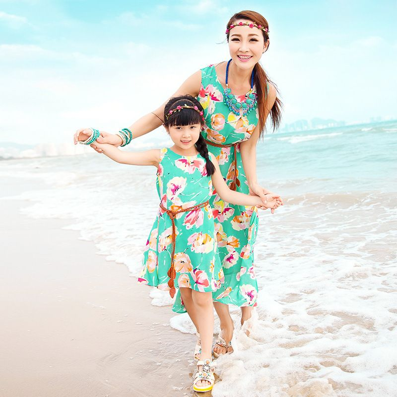 family look bohemian Summer Style matching Mother Daughter Dresses clothes 2016 Floral Print Dress Vestidos Family Clothing