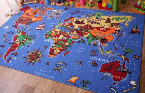 Educational Fun Colorful World Map Countries Oceans Kids Rugs From The Rug House