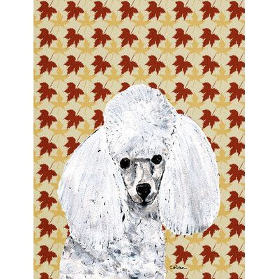 Caroline's Treasures White Toy Poodle Fall Leaves House Vertical Flag