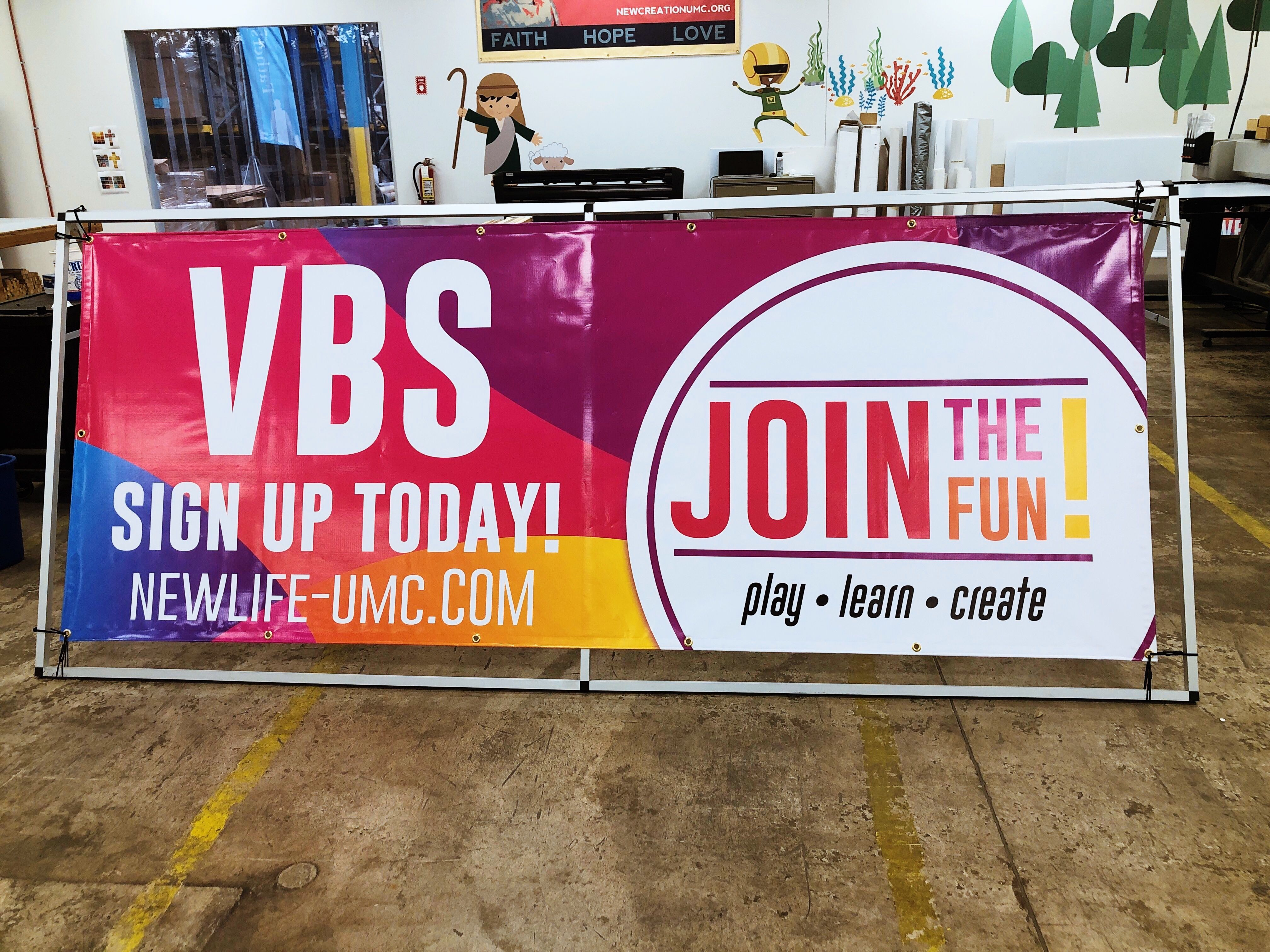 Curved Colors Vbs Join The Fun 3x8 Banner Outreach Outdoor Vinyl Banners Outdoor Banners Church Diy