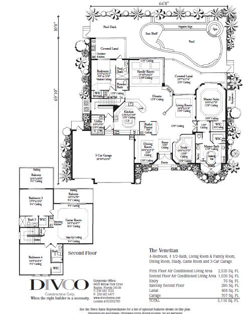 The Venetian 4 Bedroom 4 Bath Divcohomes Com Naples Fl Home Builder House Floor Plans Custom Home Plans Floor Plans
