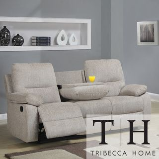 Tribecca Home Corbridge Light Beige Chenille Double Recliner Sofa    Overstock  Shopping   Great Deals on Tribecca Home Sofas   Loveseats. Tribecca Home Corbridge Light Beige Chenille Double Recliner Sofa