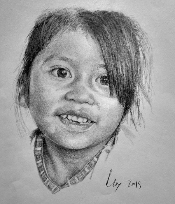 Pencil portrait (hyperrealistic approach) on Strathmore Drawing paper, 300 Series.  © George Max, June, 2015.