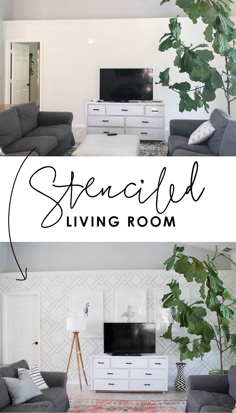 Living Room Stencil Instead Of Wallpaper In 2020 Home D