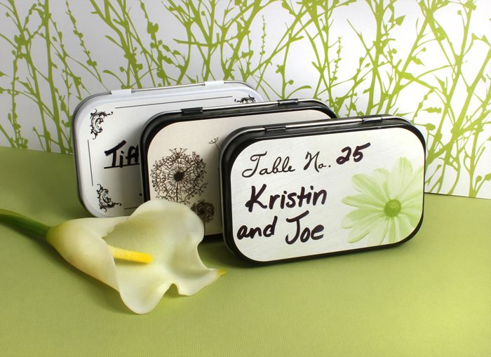 Floral Inspired Placecard Wedding Mint Tins, include your own text for a unique personalized favor! #daisy #favors #greenwedding