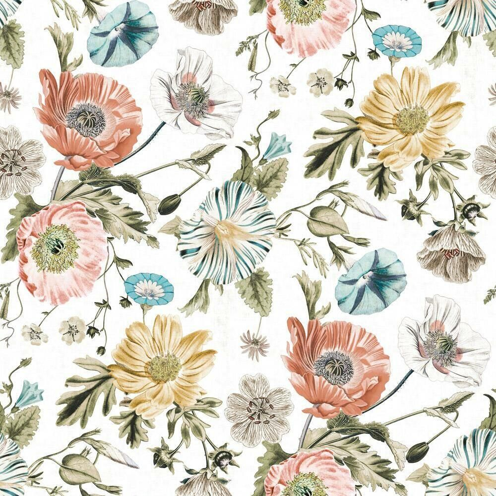 Vintage Poppy Peel And Stick Wallpaper In 2021 Floral Bathroom Wallpaper Peel And Stick Wallpaper Girls Room Wallpaper