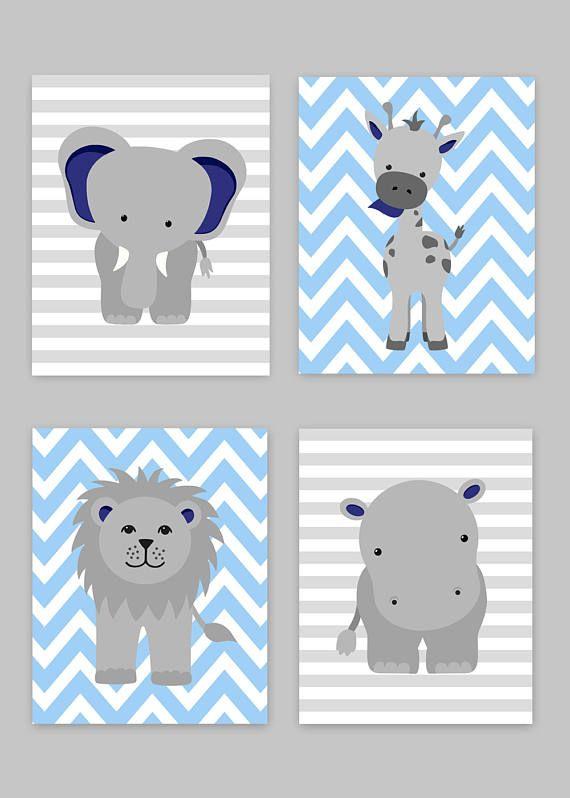 Photo of Zoo Kinderzimmer Dekor, Baby Boy Kindergarten, junge Zoo Kindergarten, Marine blau und grau, Safari Kindergarten, Dschungel-Dekor, Hippo Dekor, Giraffe, Zoo Leinwand Kunst
