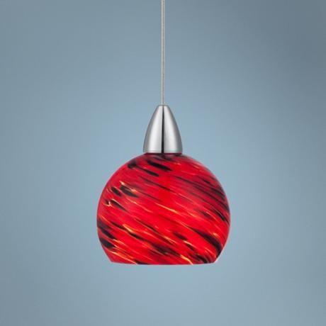Possini Euro Arata Red Art Gl Led Mini Pendant Light