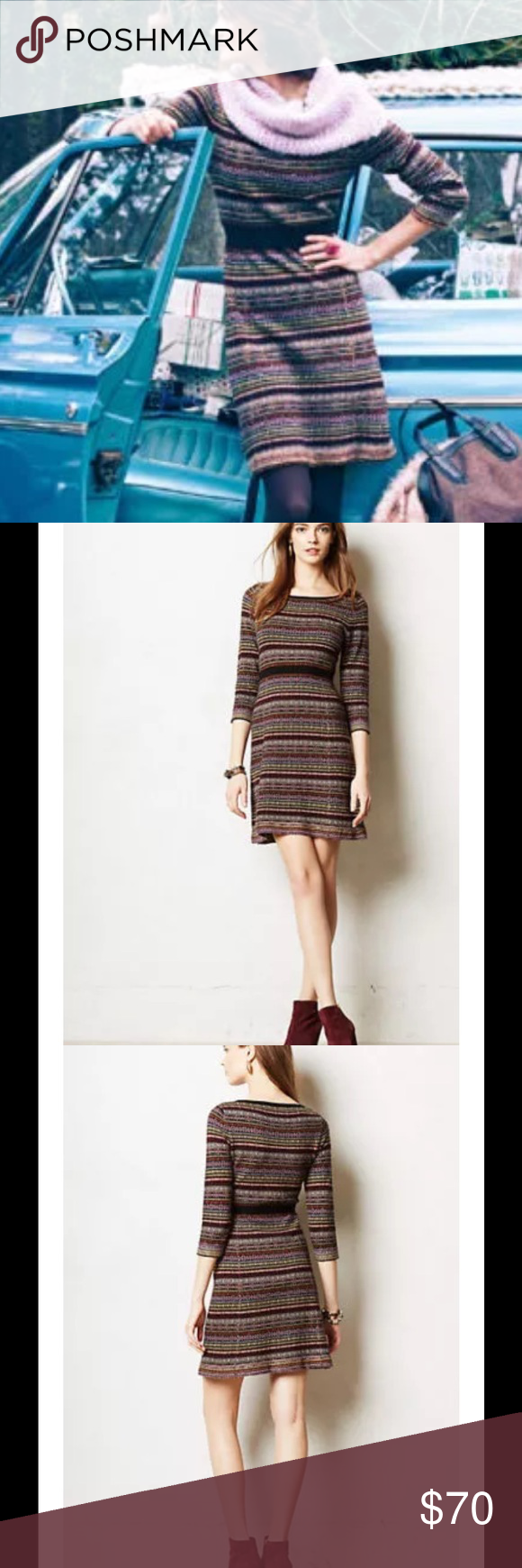 89a301e5b06 Anthropologie Clara Fair Isle Sweater Dress  168 Anthropologie Sparrow  Clara Fair Isle Sweater Dress Sz L