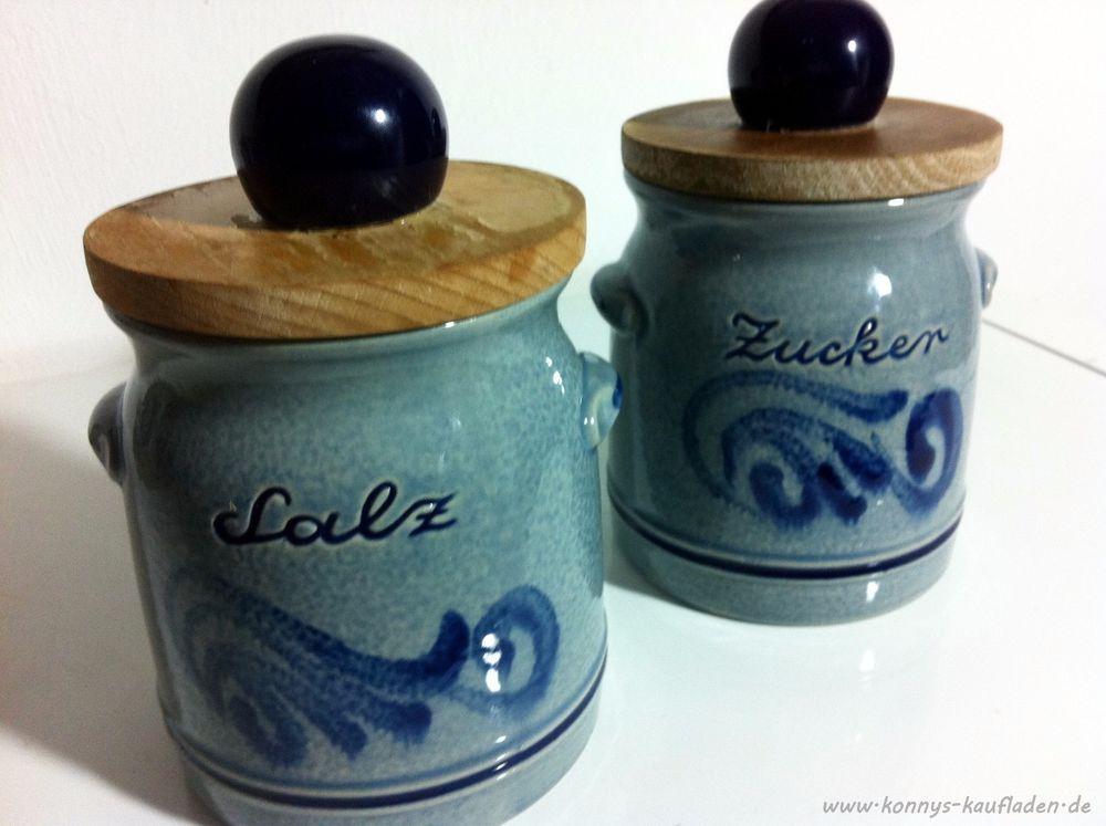 Steingut Keramik 2 steinzeug steingut keramik dosen salz zucker mit deckel salzglasur