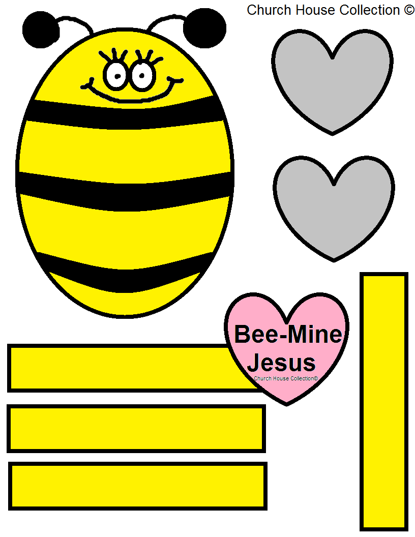 Crafts for sunday school lessons - Bee Mine Jesus Cutout Activity Sheet For Kids In Sunday School Or Children Church Printable Bee Template Hearts
