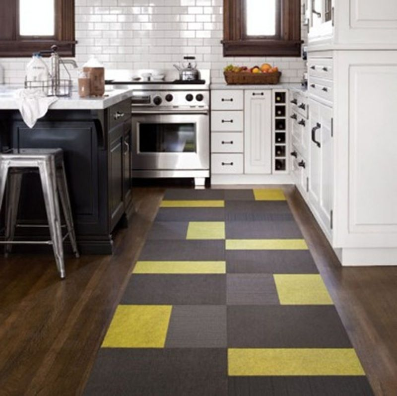 Contemporary Yellow Black Kitchen Runner Rug | Kitchen ...
