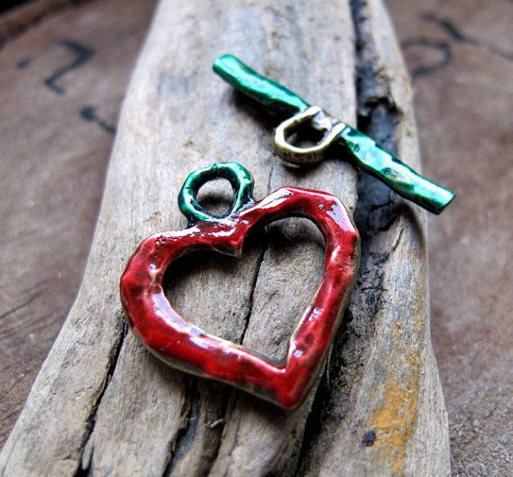 Enameled Heart Toggle Clasp Findings Metal Clasp by NadinArtGlass, $7.00