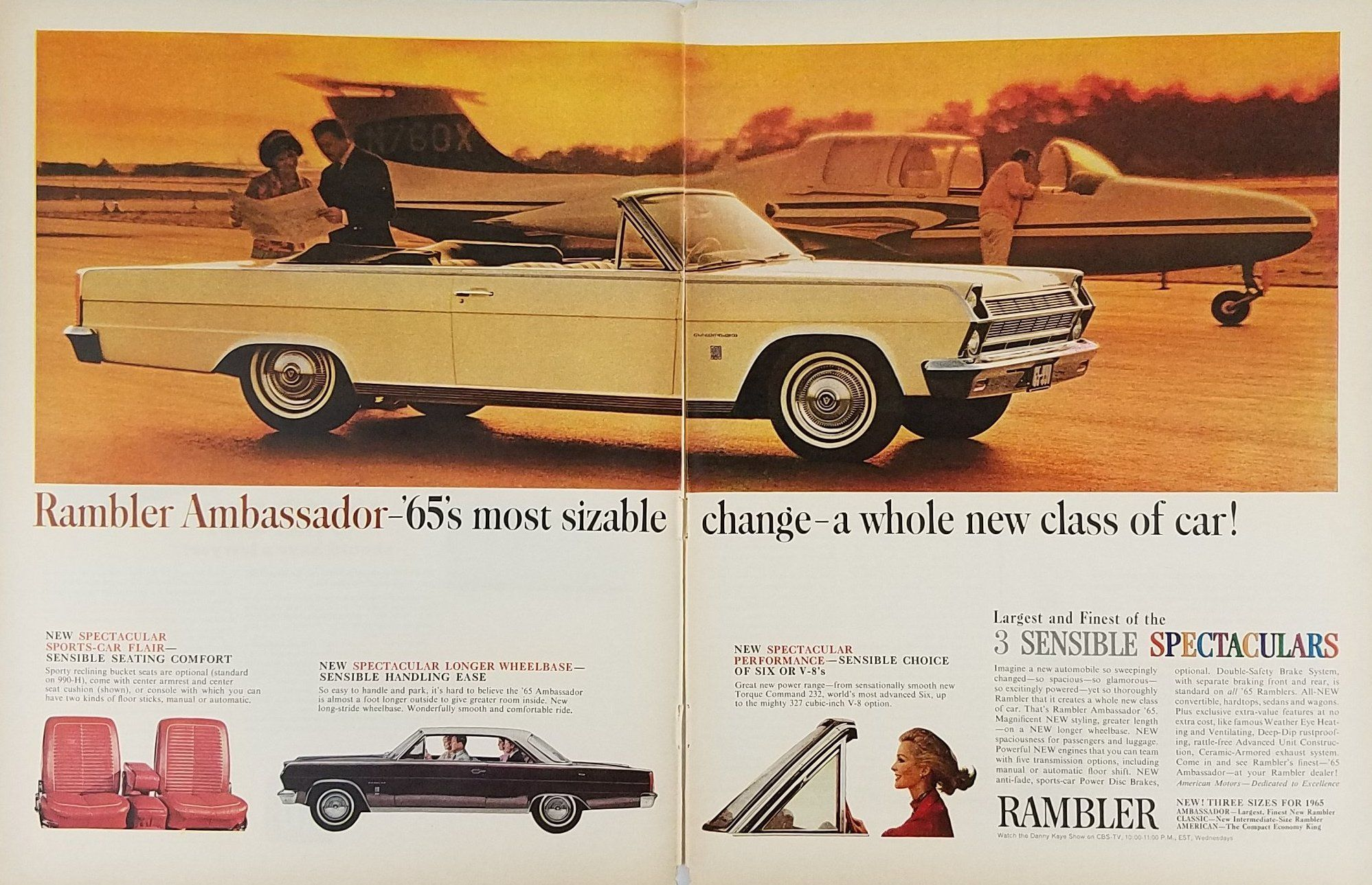 1965 Rambler Ambassador Vintage Ad Convertible Plane Couple Reading Con Imagenes Sensible