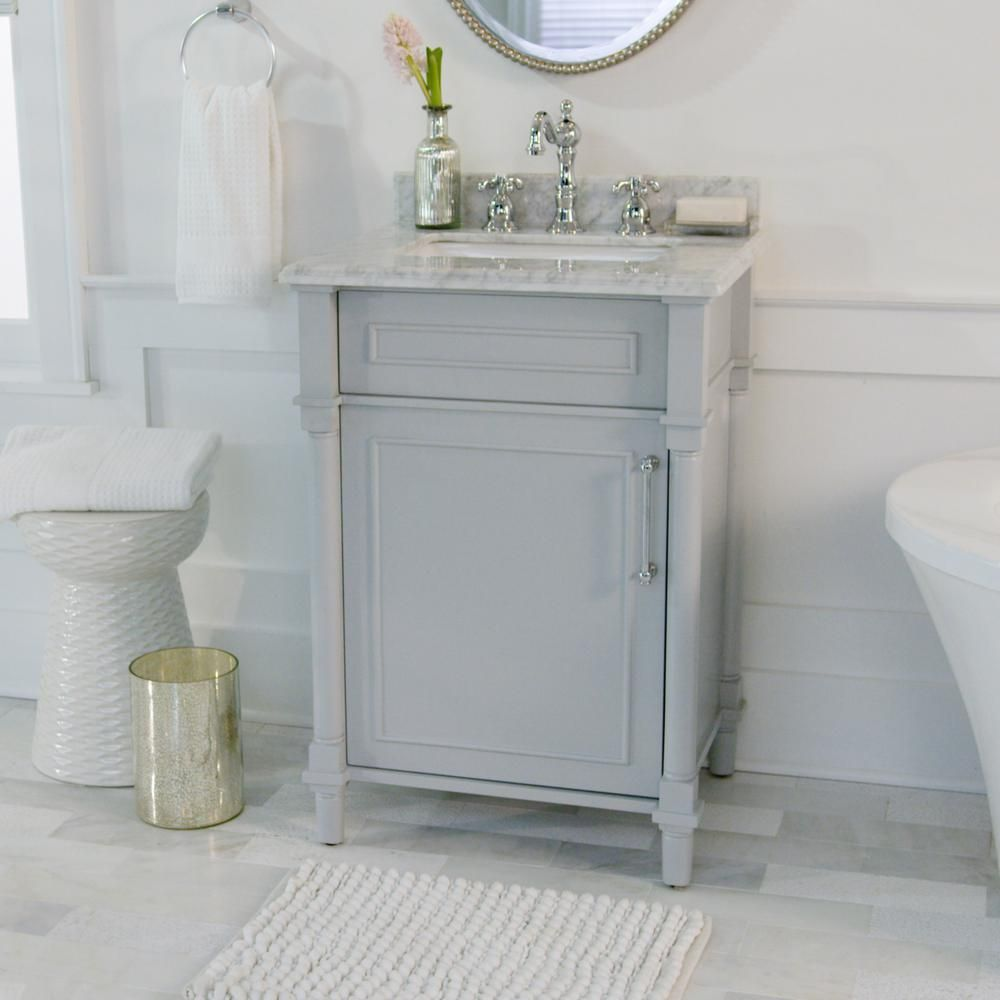 Home Decorators Collection Aberdeen 24 In W X 20 In D Bath Vanity In Dove Grey With Carrara Marble Top With White Sink 8103200270 With Images Home Depot Bathroom Vanity