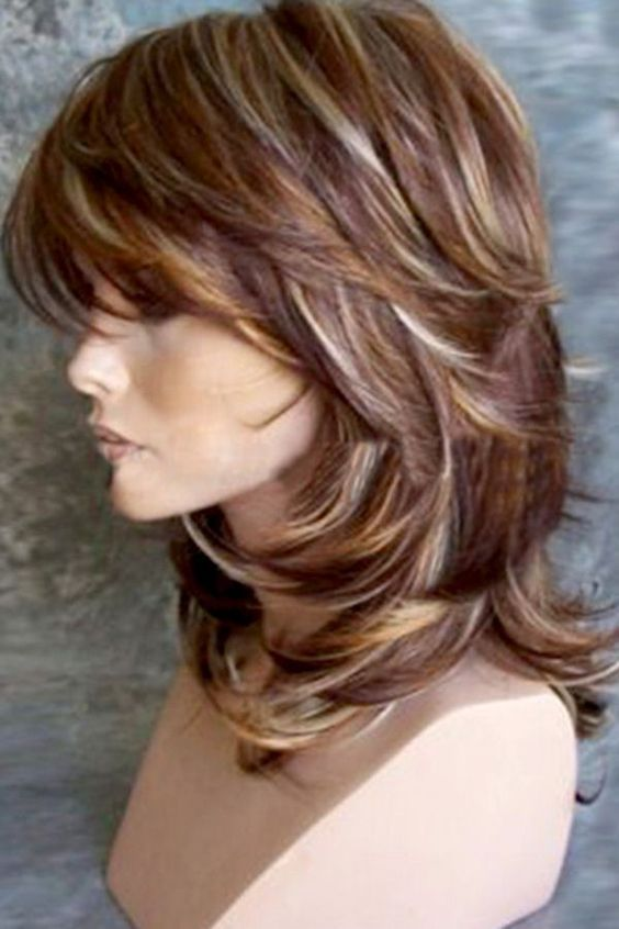 Brown Medium Inclined Bang Layered Natural Wave Sy