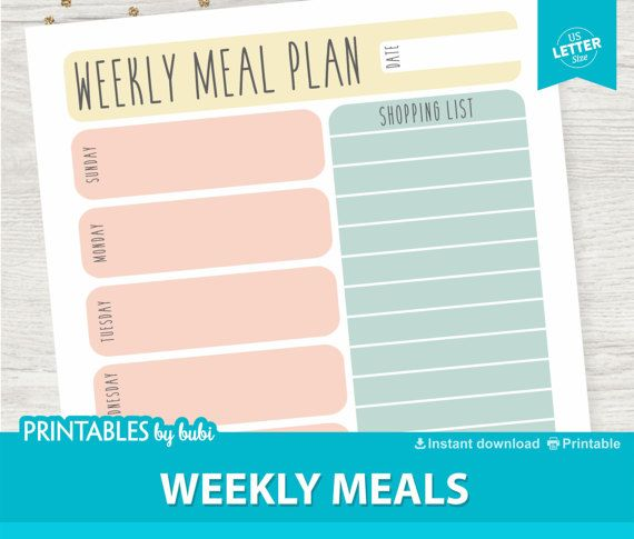 Meal Planner Grocery List Printable Shopping List Printable Meal