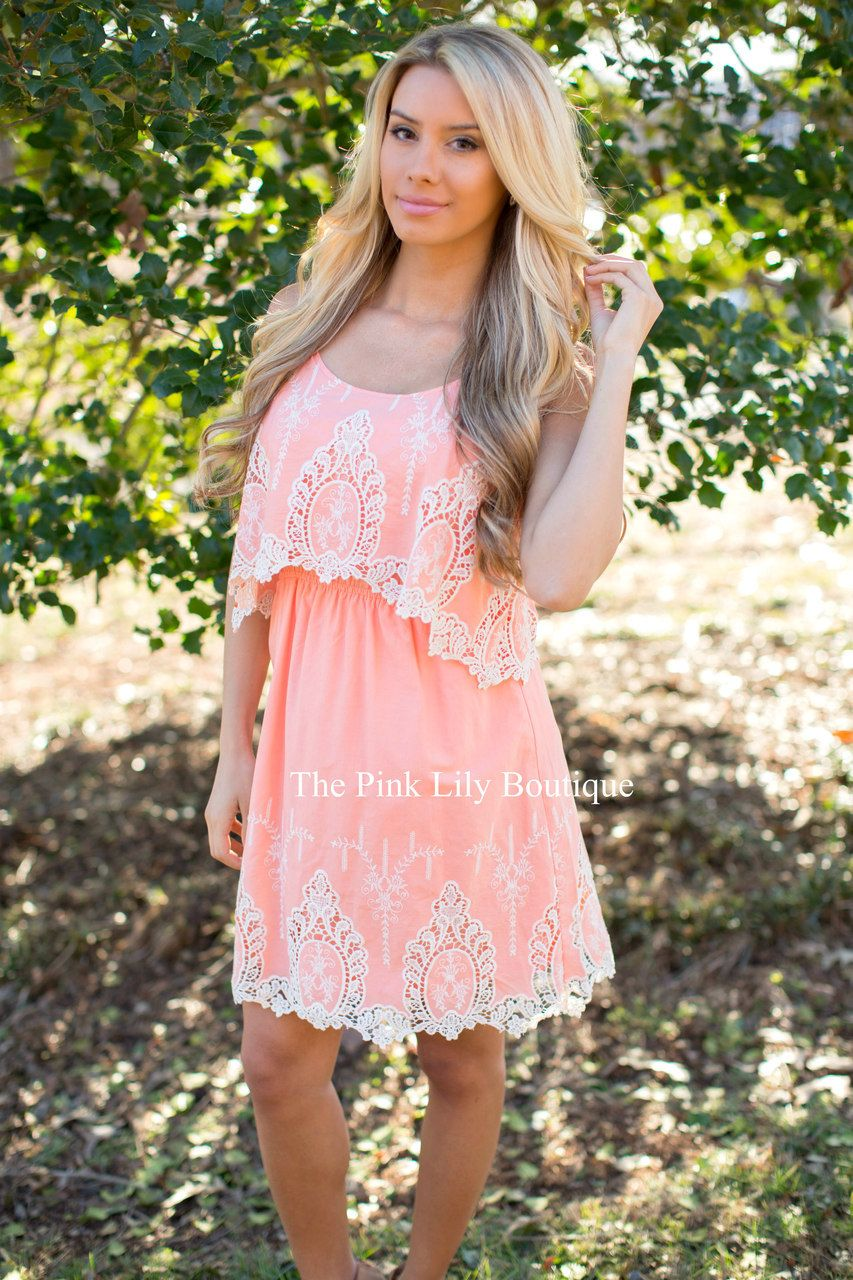 192aeea592dd Sweet and Southern Peach Lace Dress - The Pink Lily Boutique