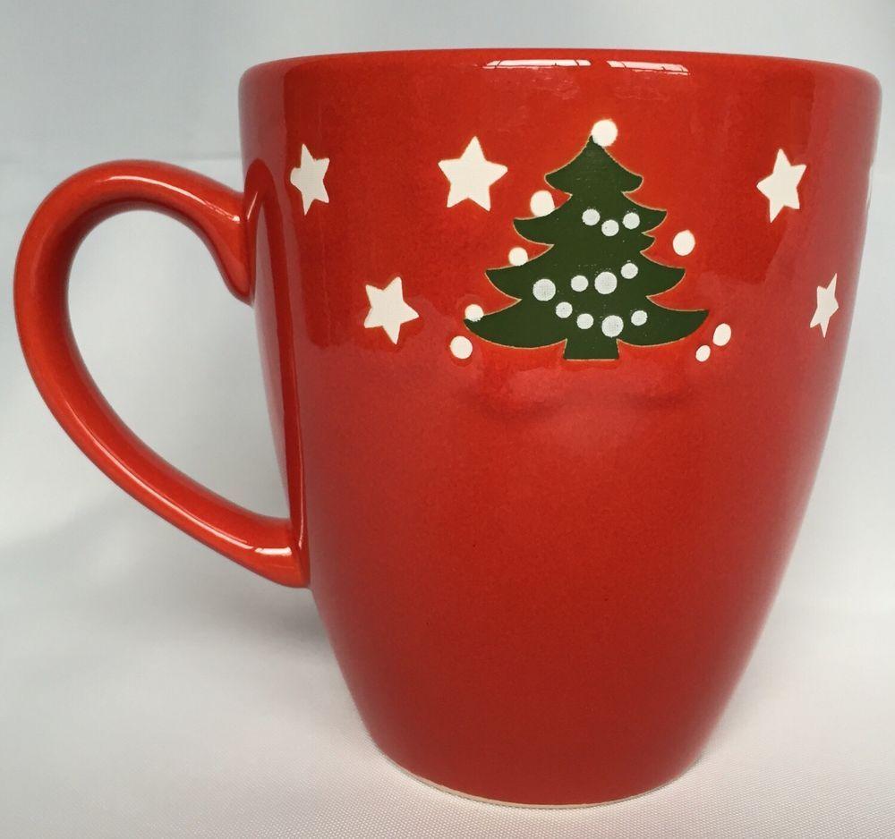 Waechtersbach Christmas Tree Coffee Mug Stars Germany Border Pattern 16 OZ Red & Waechtersbach Christmas Tree Coffee Mug Stars Germany Border Pattern ...