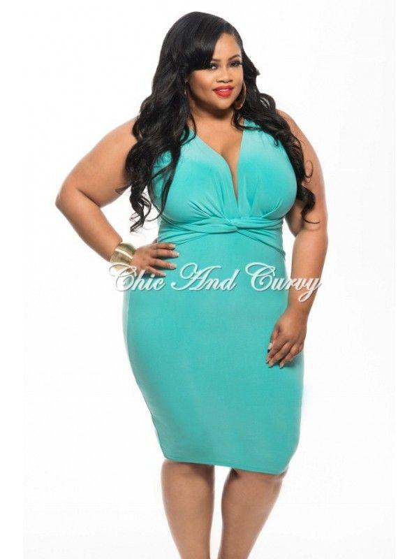 New Plus Size BodyCon Dress with Deep V Neck and Twisted Waistline in Aqua 1x 2x 3x