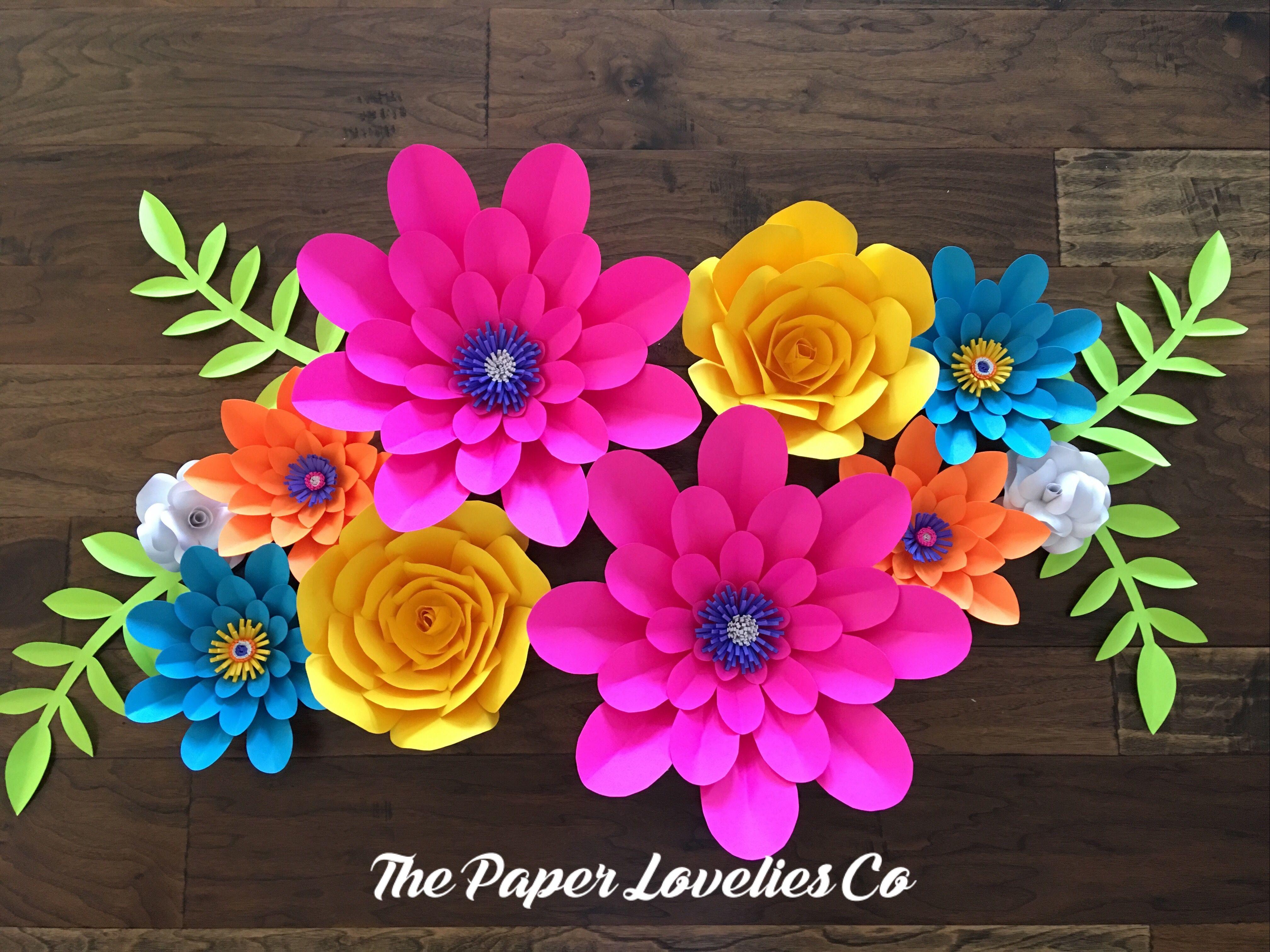 Vivid bright paper flower set hawaiian birthday party pinterest vivid bright paper flower set izmirmasajfo Gallery