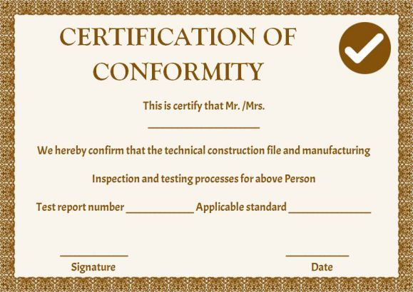 Manufacturing certificate of conformance templates for Certificate of manufacture template
